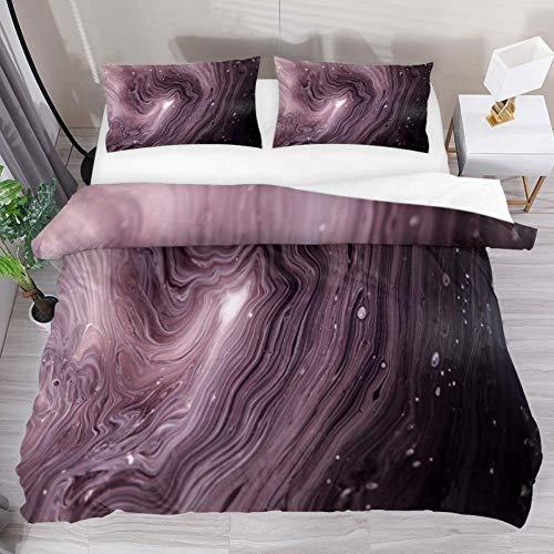 Soefipok Bettwäsche Bettbezug-Set Pink Abstract Art Bedrucktes Tröster-Set mit 2 Kissenbezügen 3-teilig, 1 Bettbezug mit 2 Kissenbezügen - Abstract Tröster