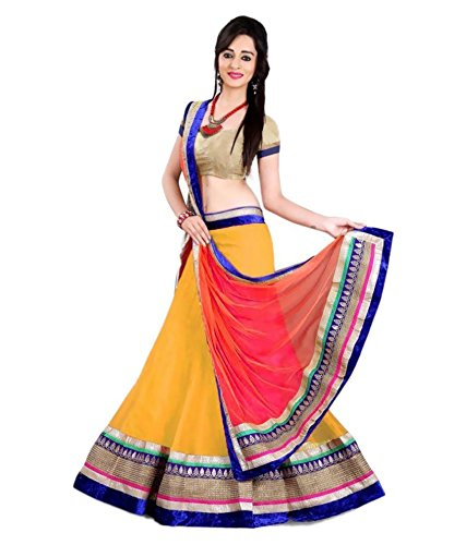 Jay Varudi Creation Women\'s Net Lehenga Choli With Velvet Blouse (KDY_1_Free Size)