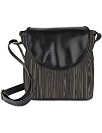 Snoogg Black Wooden Texture Womens Sling Bag Small Size Tote Bag