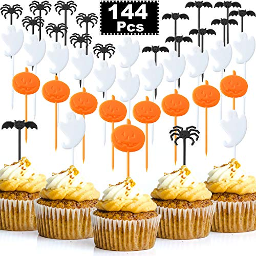 Boao 144 Stücke Halloween Picks Kunststoff Cupcake Topper Party Picks mit Kürbis Spinne Fledermaus Geist Design für Halloween Geburtstag Thema Party Dekoration