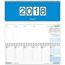 Wochen-Tischkalender 2018, Querkalender, 2-farbig, runde Ecken 29,7x10,5, 1 Woche 2 Seiten, Querterminbuch für Büro und Schreibtisch mit Zusatzinfos