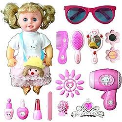 Buyger Princesse Jeu d'Imitation Jouets de Poupée Coiffure Maquillage beauté Cadeau pour Les Fille Enfant