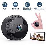 Mini Caméra Espion Cachée sans Fil WiFi, Tesecu Cam IP HD1080P Vision Nocturne Détection de Mouvement Caméra de Surveillance Sécurité pour iPhone/ Android/ Support Maximum Carte de 128G(Pas Incluse)