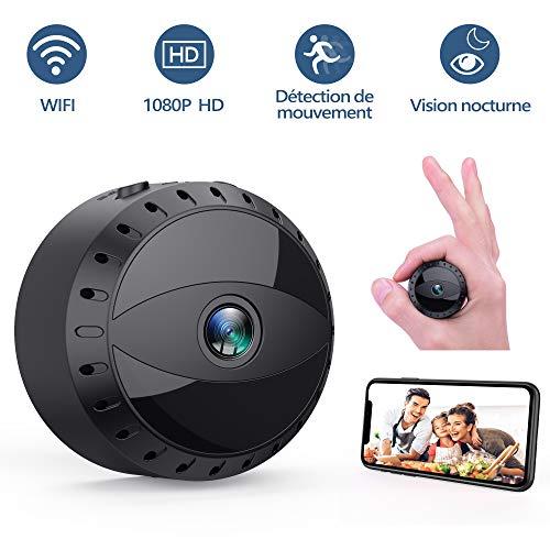 Mini Caméra Espion Cachée sans Fil WiFi, Tesecu Cam IP HD1080P Vision Nocturne Détection de Mouvement...