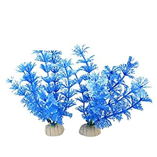 2Pcs Plastic Fish Tank Aquarium Plants Water Aquatic Grass Landscaping Ornament Blue 15cm 515M9Ms6c L