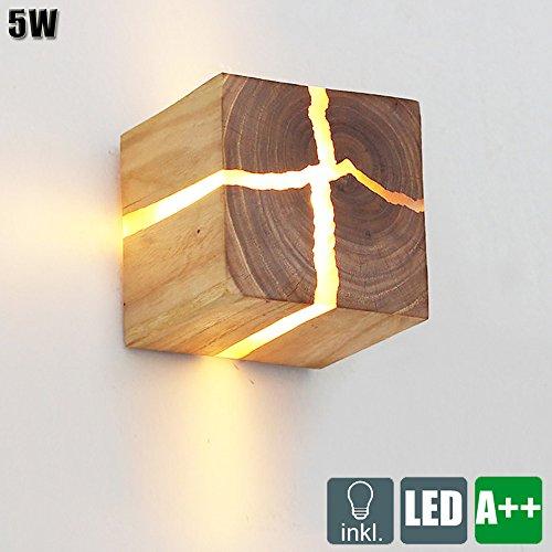 5W LED Holz Wandleuchte Quadratisch Riss WandLampe Hölzerne Klein Nachtlicht Kreativ Square Wand Lampe / leuchten Warmweiß 3000K Nachttischlampe Gangbeleuchtung Korridor wandbeleuchtung, 8*8*8 cm (Hölzerne Lampe)