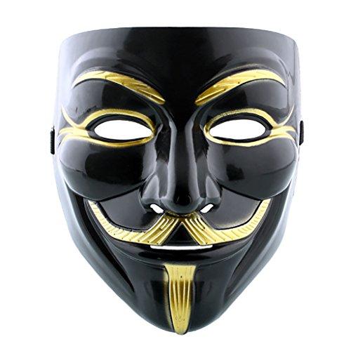 Maske ANONYMOUS - V FÜR VENDETTA - REVOLUTION - SCHWARZ UND GOLD