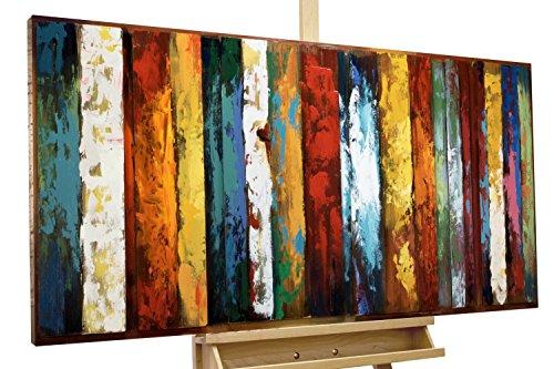 Kunstloft Extravagante Relieve de Pared de Metal Tercera Dimensión' 120x60x4cm | Decoración XXL Escultura | Colorido Abstracto Rayas | Cuadro Hecho a Mano Imagen Mural de Arte Moderno
