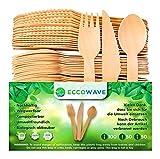 EccoWave 200 pezzi Posate di legno usa e getta | Stoviglie usa e getta organici | Ecologico Degradabile | Per barbecue, compleanni, campeggio, picnic (100 forchette, 50 coltelli, 50 cucchiai)