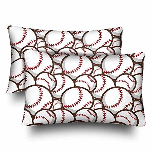 InterestPrint Sport Baseball Nahtloses Muster Kissenbezug Standard Größe 20x30 Set 2 Stück rechteckig Kissenbezug Schutz für Home Couch Sofa Bettwäsche Deko, Polyester, Design06, 20 * 30 -