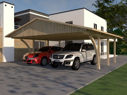 Carport Satteldach MONTE CARLO VIII 600x600cm KVH mit 2 Leimholzbögen Bausatz