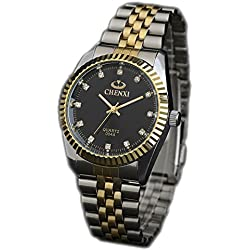 ufengke® luxury shining rhinestone nice gold steel band waterproof watch for men- black