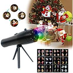 Lámpara de proyector de vacaciones, luces de Navidad, proyector de mano, con imágenes de efecto animación, 12 diapositivas de luz decorativa portátil para fiesta en casa, cumpleaños, Halloween y Navidad