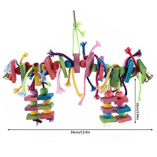 etbotu bunt PET KAUEN Beißen Holz Brick Spielzeug mit Seil zum Aufhängen für Vogel Papagei Hamster Kaninchen (Meerschweinchen Beißen)