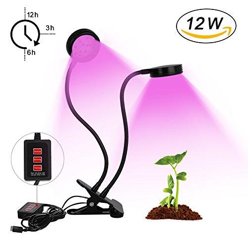Pflanzenlampe, 12W Dual Kopf Pflanzenlicht, INTKRSCOOP Pflanzenleuchte 3 Modes Timer(3H/6H/12H) 32 LEDs(24 Rote, 12 Blaue) Wachstumslampe mit 360 Grad einstellbar Flexible Gooseneck (keine Adapter) Einfach Zu Wachsen, Indoor-lampen