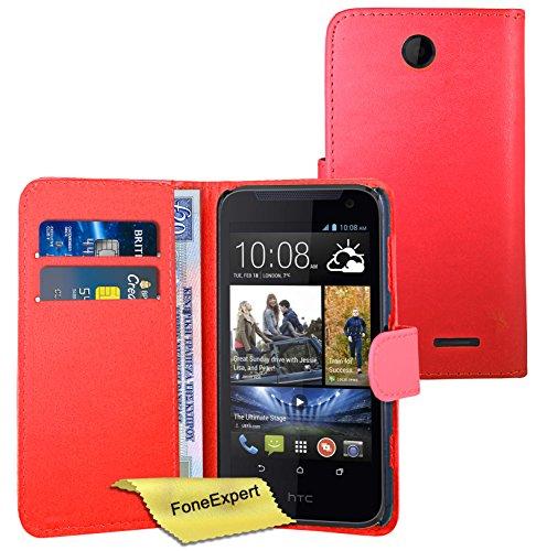 FoneExpert® HTC Desire 310 - Etui Housse Coque en Cuir Portefeuille Wallet Case Cover pour HTC Desire 310 + Film de Protection d'Ecran (Rouge)