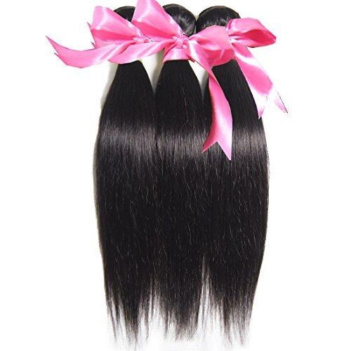 Extensions de cheveux humains 7 A tissage cheveux raides 3 trames 100% brésiliens vierges naturels non traités pouvant être teints et blanchi Couleur naturelle (100 +/-5g)/PC (26 28 76,2 cm)