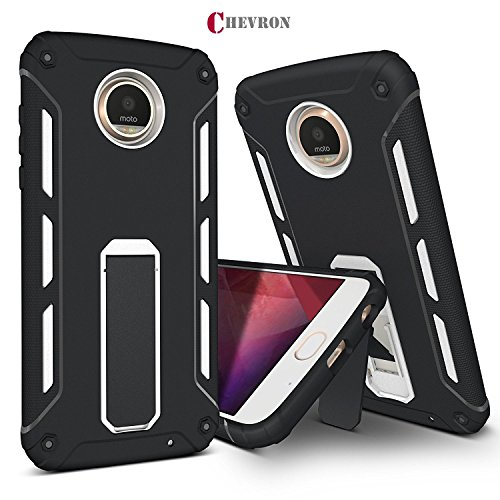 Chevron Motorola Moto Z2 Play Back Cover Case, ChevPassion™ Hybrid Armor Design Kick Stand-up Feature Dual Layer Protective Shell Hard Back Cover Case Motorola Moto Z2 Play -Diamond White