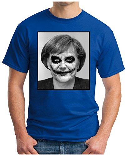 OM3 - JOKER-ANGIE - T-Shirt EURO Mutti Wir Schaffen Das Deutschland Flüchtlinge Dark Knight Parodie Fun, S - 5XL Royalblau