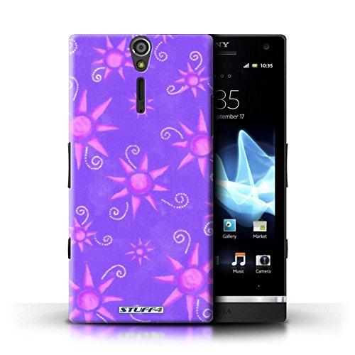 Kobalt® Imprimé Etui / Coque pour Sony Xperia S/LT26i / Bleu/Blanc conception / Série Motif Soleil Violet/Rose