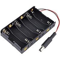 Portapilas, Malloom 6 Slots AA 2A batería titular de almacenamiento caso con DC2.1 Power Jack para Arduino