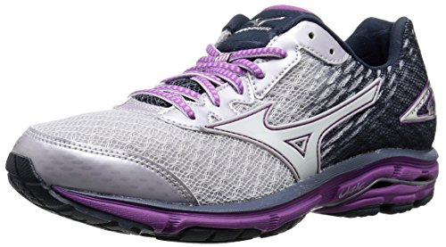 Mizuno Wave Rider 19 Large Synthétique Chaussure de Course Lilac-Marble Whitw