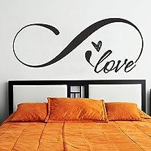 """Vinilo adhesivo para pared, con el símbolo de infinito y la palabra """"Love"""", decoración romántica para cabecero de cama de tamaño King size, vinilo, Custom, 22""""hx52""""w"""