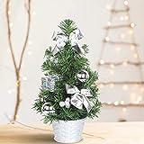 SHareconn Mini Albero di Natale, Deco Abete per Natale, Mini Christmas Tree Piccolo Albero Artificiale Decorazione Desktop di Natale, Altezza 30cm - Argento