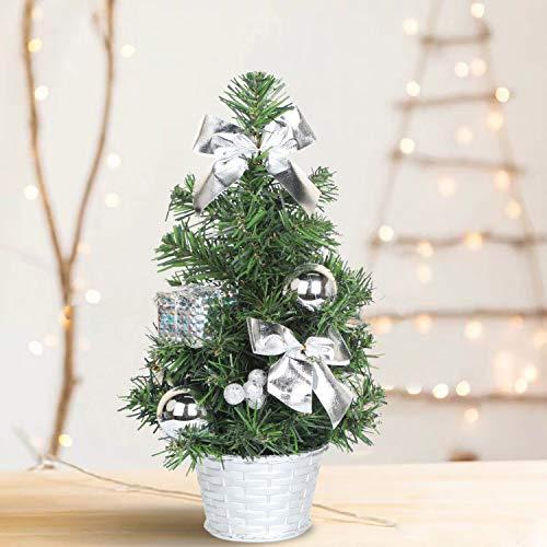 SHareconn Künstlicher Mini Weihnachtsbaum Premium Spruce Kleiner Bonsai mit Silber Verzierungen, 30cm