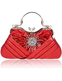 Damara Womens Sunflower Crystal Front Pleated Evening Tote Bag, Red