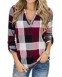 YOINS Camicia Donna Elegante Camicetta Donna Manica Lunga Bluse Camicie a Quadri Blusa Scollo V Casuale Scacchi Rosa M