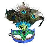 zchg Máscara Veneciana de Media Cara de Plumas de Pavo Real Lentejuelas para Disfraces de Cosplay de Fiesta Azul Azul