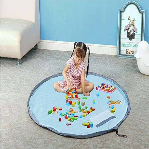 xhforever Kinder Aufräumsack Spieldecke Spielzeug Speicher Tasche Aufbewahrung Beutel Spielzeugaufbewahrung 150cm Blau