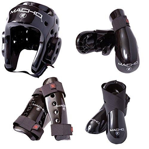 Macho Dyna 7-teiliges Set Sparring Gear mit Schienbeinschoner, rot
