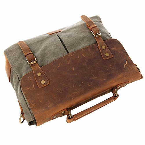 Paonies Männer Damen Büffelleder Canvas Tasche Aktentasche Laptoptasche Handtaschen Messenger Beutel (Grün) Armeegrün