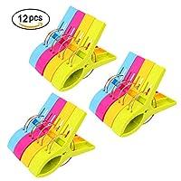URAQT 12-Pack Mollette in Plastica Grandi in Colori Brillanti Queste clip sono appositamente progettate per assicurare gli asciugamani da spiaggia ai lettini da essere spazzati via dal vento del mare. Sono fatti di plastica resi...