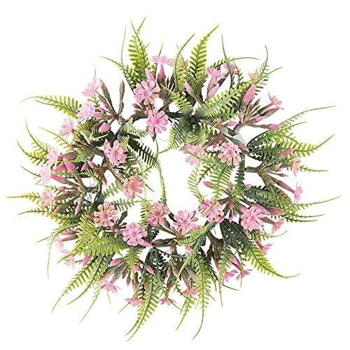 , innen: Ø 11cm, außen: Ø 25,5cm, mit Farn und rosafarbenen Blüten ()