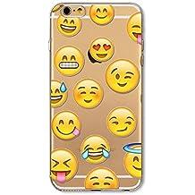 Phone Kandy® Emoji Claro TPU Transparente Funda de silicona ultra fina y protector de la pantalla carcasa funda (iPhone 5 5s SE, mezcla)