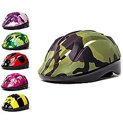 Casco 3Style Scooters® para niños con diseño de camuflaje verde, ideal para ciclismo y patinaje, con diadema ajustable de 53 cm, 54 cm y 55 cm, diseño ventilado, apto para niños de entre 6 y 11 años