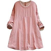 AmazingDays Damen Sommerkleid Langarm Kleid Punkte Drucken Kleider A Linie  Minikleid Elegant Freizeitkleid Locker Tops Longshirts 5969eb6c78