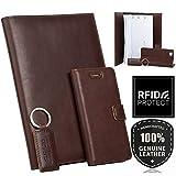 Leder Geschenkset - Handy Schutzhülle, Kalender, Schlüsselring aus Echtesleder Western Farbe Dunkelbraun für Samsung Galaxy S4 Mini