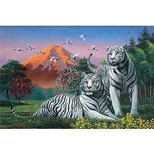 Yanoman - Puzzle 1000 pièces - Couple de tigre blanc