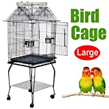 Popamazing Quality Large Pet Bird Budgie Canary Aviary Parrot Stable Cage Open Top Perches Stand Cage (Style B)