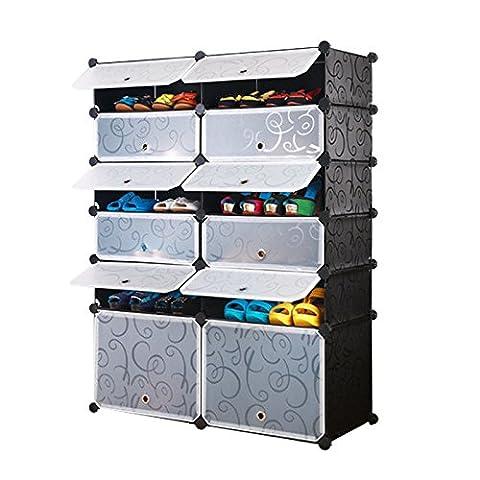 AcornFort 12 Gates 2 Columns 6 Tiers Interlocking Shoe Rack Boots Storage Cubes Shelves Organisers 98CM * 37CM * 128CM