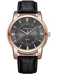 Cebbay Reloj de liquidación Noble Leisure Fashion Waterproof Leather Band Cuarzo Analógico Relojes de pulsera (