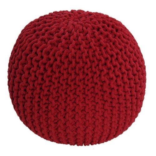 Homescapes Pouf Tricoté Rouge 100% Coton Repose-pied Rembourré des Billes le Salon, la Chambre des Enfants les Personnes Âgées.