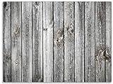 Wallario Stilvolle Glasunterlage/Schneidebrett aus Glas, Holz-Optik Textur hellgraues Holz Paneele Dielen mit Asteinschlüssen, Größe 30 x 40 cm, Kratzfest, aus Sicherheitsglas