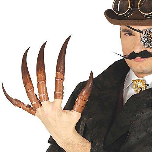 Guirca Braune Lange Finger Nägel für Erwachsene Dämon Halloween Horror Party Hexe Schwarz Lang