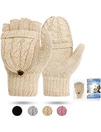 Women's Gloves Fingerless Mittens - Winter Warm Gloves Heat Weaver Cable Knit, Half-Finger Gloves for Ladies and Girls - Christmas Birthday Gift