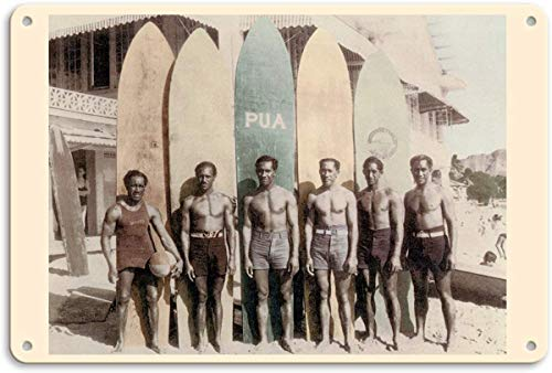Larry Sageasd Hawaiian Duke Kahanamoku and his Brothers with Surfboards Vintage Metal for Bar Garage Cafe Home 12 X 8 in